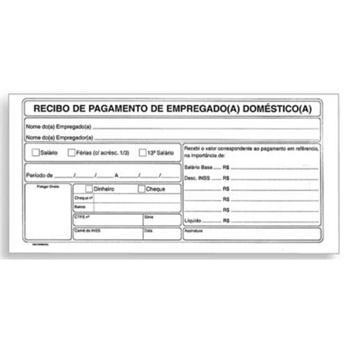 Recibo De Pagamento Empregada Doméstica 50 Folhas 241006
