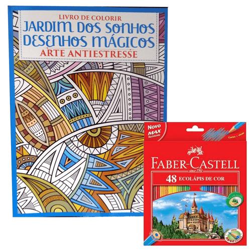 Kit-Livro-de-Colorir-Jardim-dos-Sonhos---Lapis-de-Cor-48-Cores-Faber-Castell