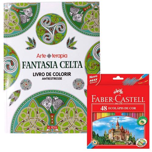 Kit-Livro-de-Colorir-Fantasia-Celta---Lapis-de-Cor-48-Cores-Faber-Castell