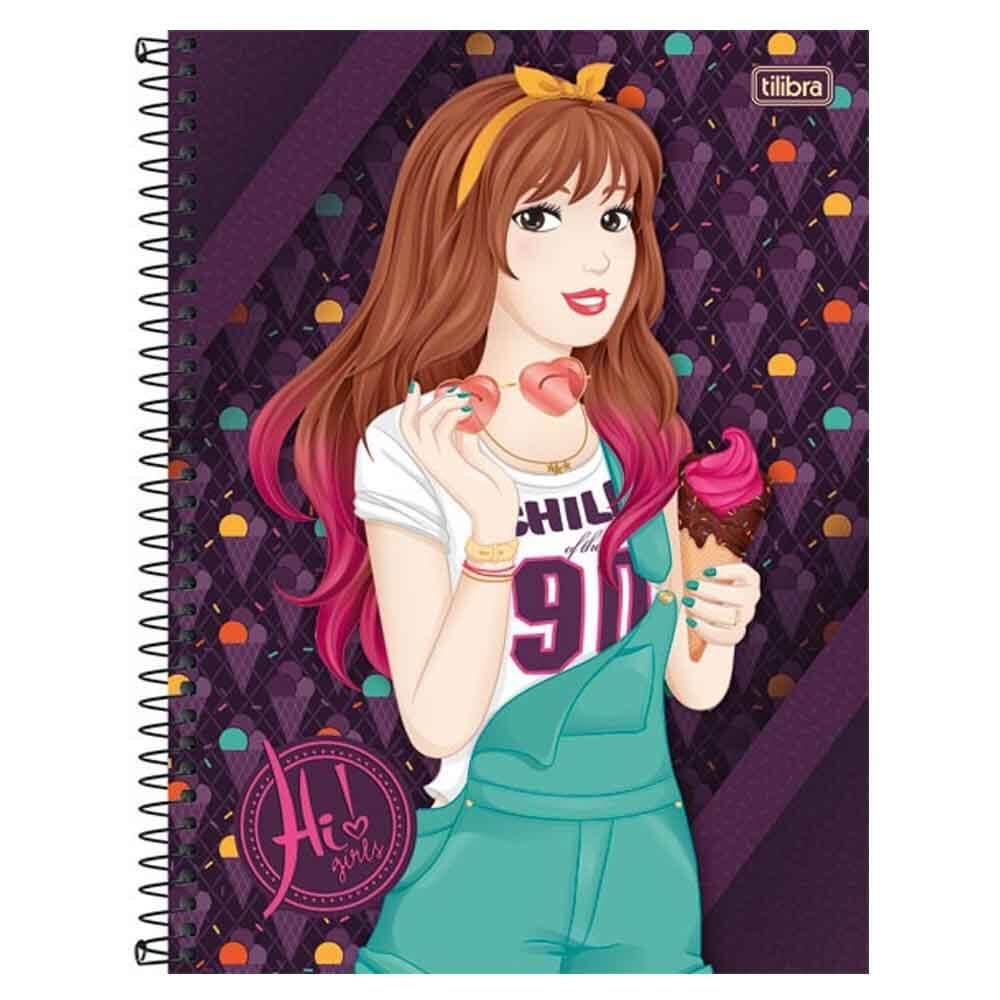 Caderno Universitário Hi! Girls 16 Matérias - Tilibra - costaatacado df8b562efa5ad