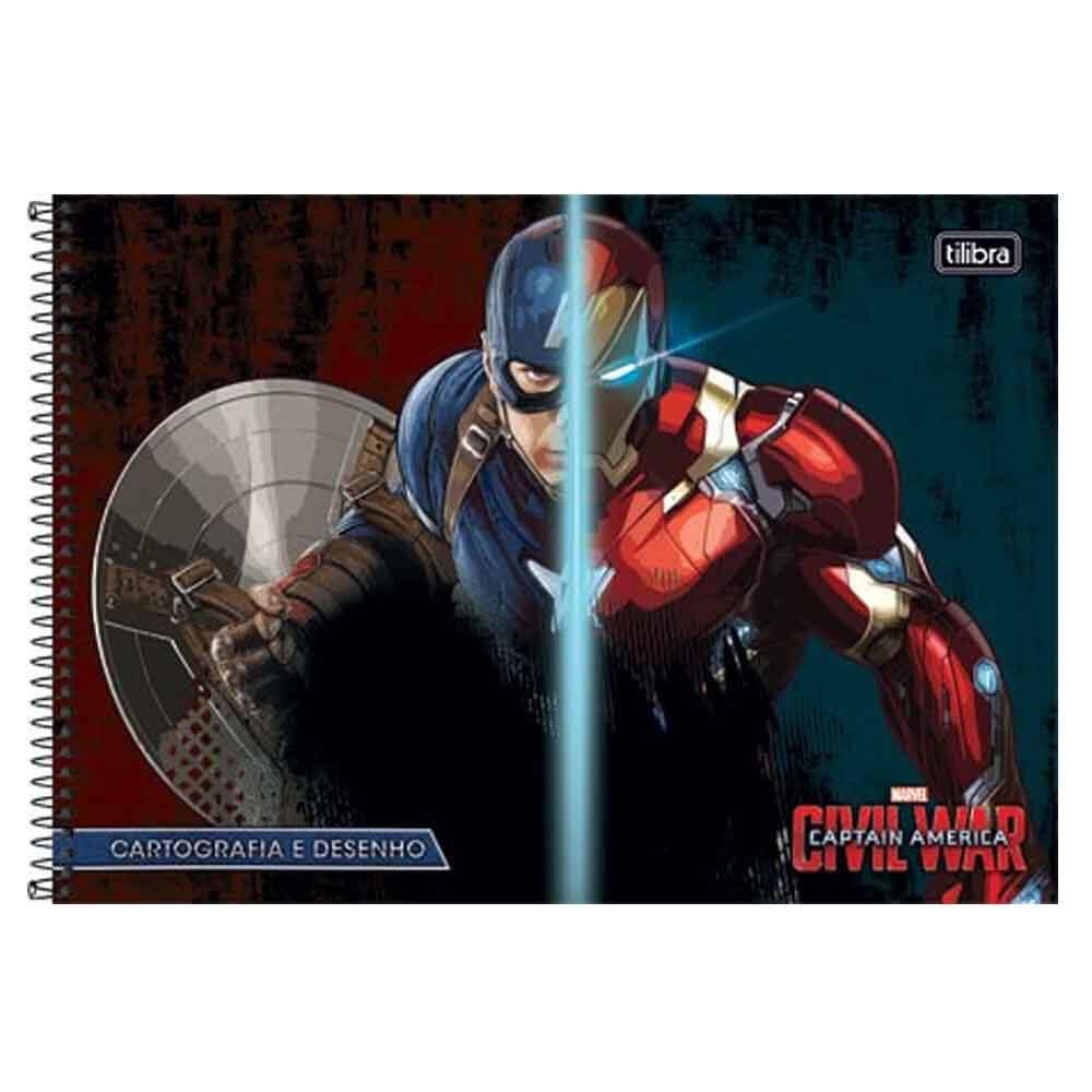 Caderno De Desenho Capitão América 96 Folhas Tilibras