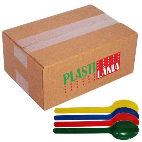 Colher-Plastica-Sobremesa-Plastilania-Colorida-1000-Unidades
