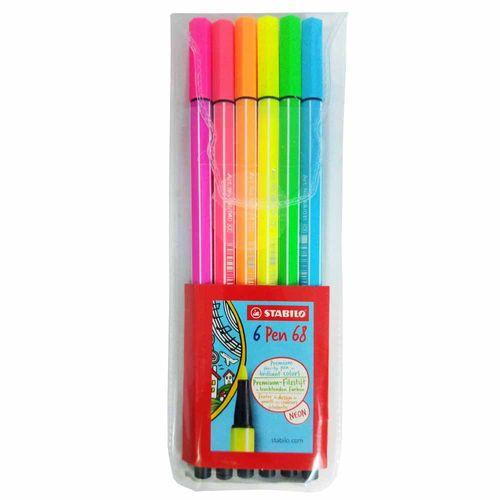 Caneta-Stabilo-Pen-68-Neon-1.0mm-6-Unidades