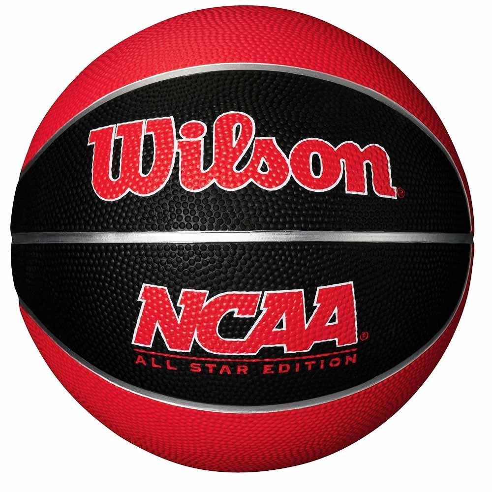 Bola de Basquete Wilson NCAA Mini Preta e Vermelha - costaatacado 6989d30f3cf6a