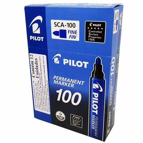 Marcador-Permanente-100-Azul-Pilot-12-Unidades