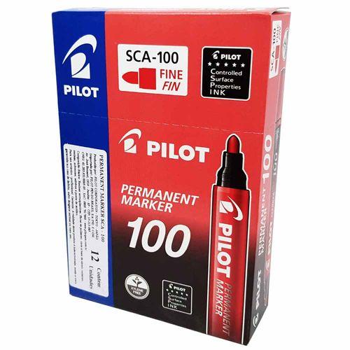 Marcador-Permanente-100-Vermelho-Pilot-12-Unidades