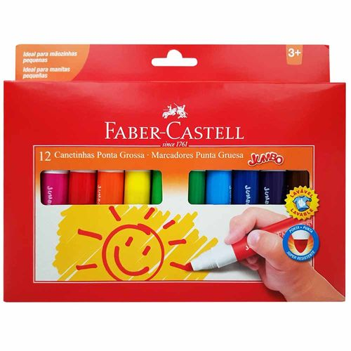 Canetinha-Hidrografica-12-Cores-Jumbo-Faber-Castell