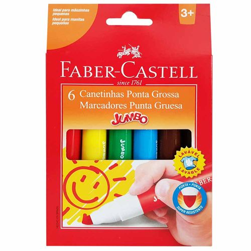 Canetinha-Hidrografica-6-Cores-Jumbo-Faber-Castell