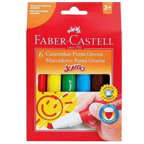 Canetinha-Hidrografica-6-Cores-Jumbo-Faber-Castell