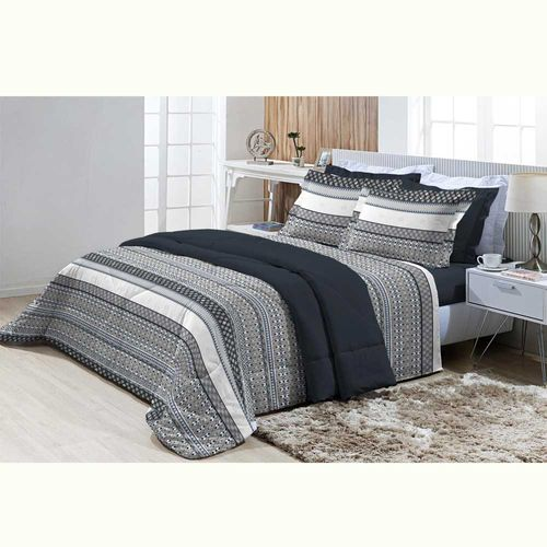 Jogo-de-Cama-Casal-200-Fios-Top-Confort-Cambridge-Azul-Textil-Lar