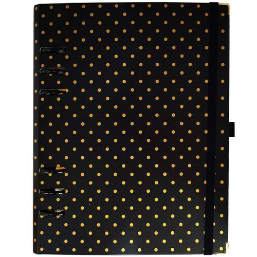 Caderno-Organizador-Gold-Planner-Polka-Dot-Preto-Otima