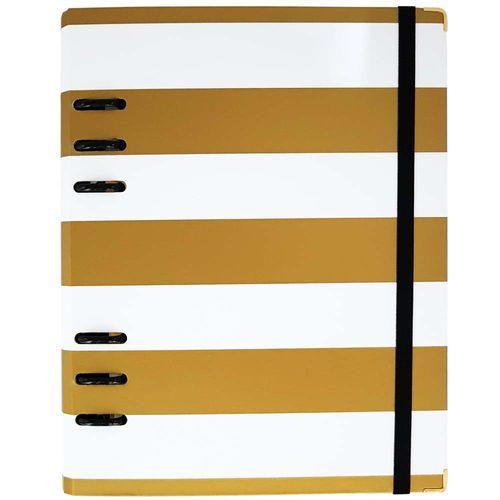 Caderno-Organizador-Gold-Planner-White-Stripes-Branco-Otima