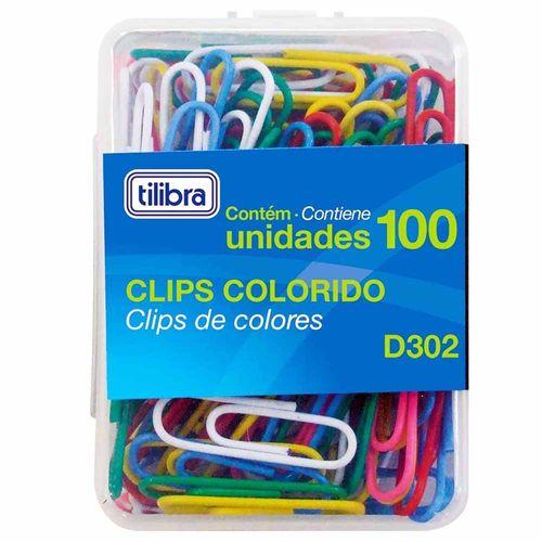 Clips-para-Papel-Colorido-D302-Tilibra-100-Unidades