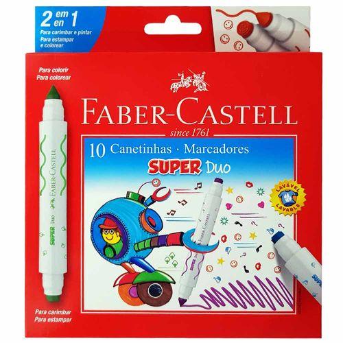 Canetinha-Hidrografica-10-Cores-Super-Duo-Faber-Castell