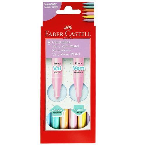 Canetinha-Hidrografica-6-Cores-Vai-e-Vem-Pastel-Faber-Castell