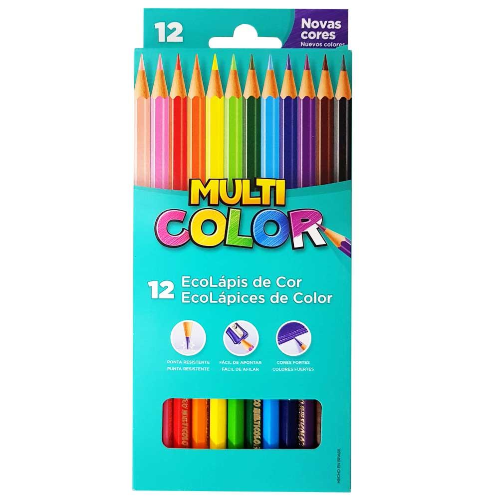 96b0cc2f4b Lápis de Cor 12 Cores Multicolor Super - costaatacado
