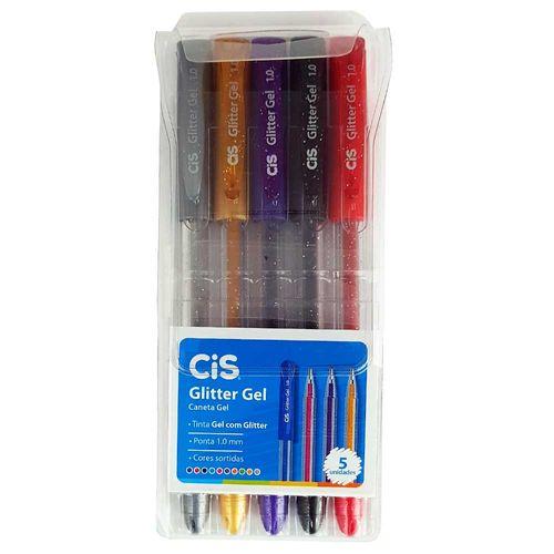 Caneta-Gel-5-Cores-Glitter-Gel-Cis