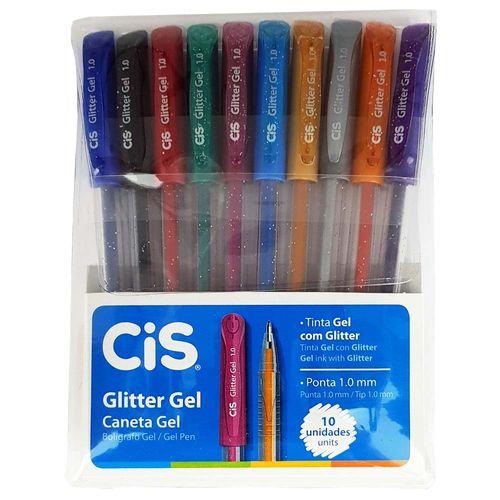 Caneta-Gel-10-Cores-Glitter-Gel-Cis