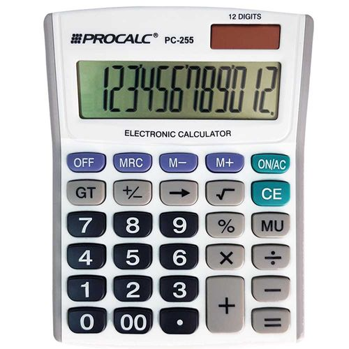 Calculadora-de-Mesa-Procalc-PC-255-Branca-12-Digitos
