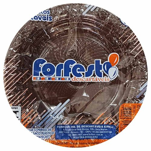 Prato-Descartavel-15cm-Marrom-Forfest-10-Unidades