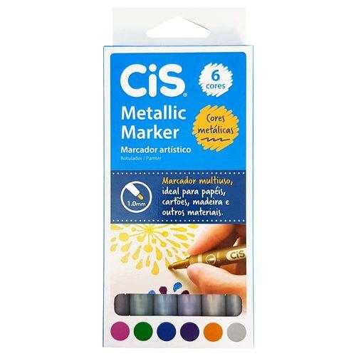 Marcador-Artistico-6-Cores-Metallic-Marker-Cis