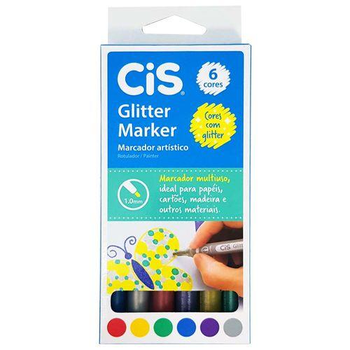 Marcador-Artistico-6-Cores-Glitter-Marker-Cis