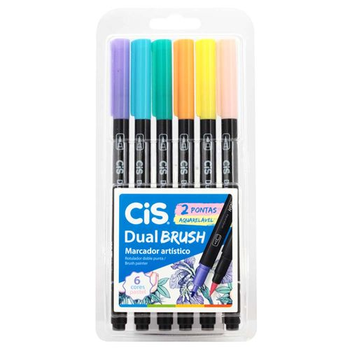 Marcador-Artistico-6-Cores-Dual-Brush-Pastel-Aquarelavel-Cis