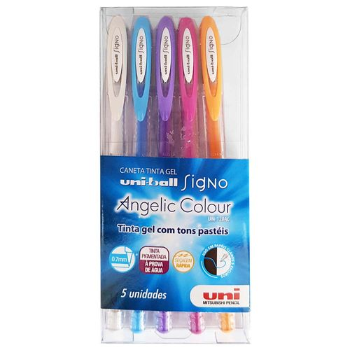 Caneta-Gel-5-Cores-Signo-Angelic-Colour-Pastel-Uniball