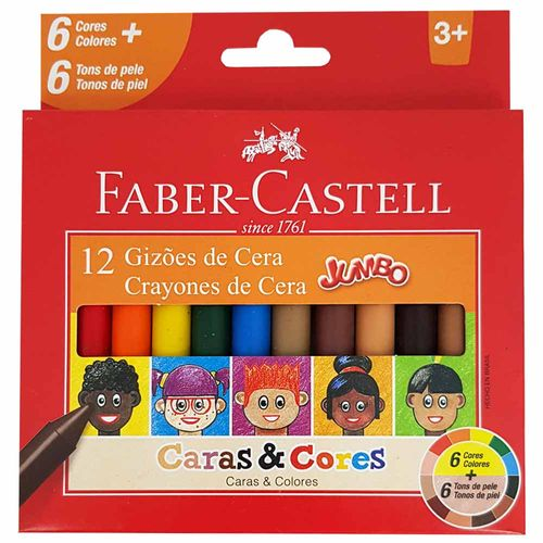 Giz-de-Cera-12-Cores-Jumbo-Caras-e-Cores-Faber-Castell