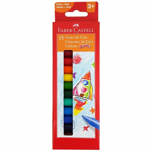 Giz-de-Cera-15-Cores-Jumbo-Curtom-Faber-Castell-