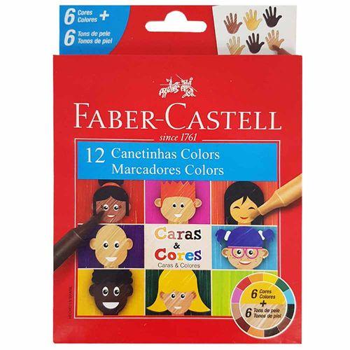Canetinha-Hidrografica-12-Cores-Caras-e-Cores-Faber-Castell