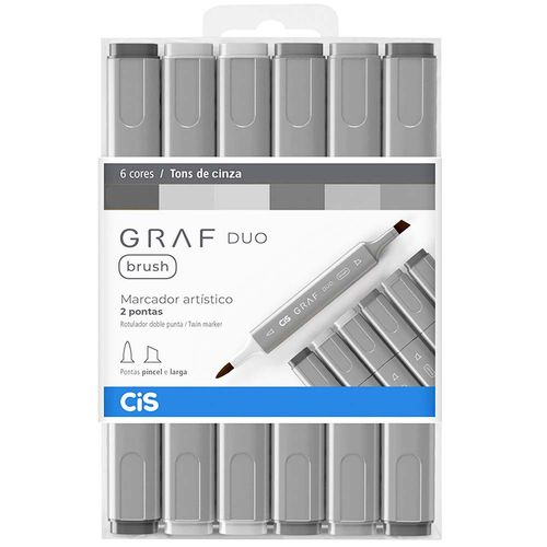 Marcador-Artistico-Graf-Duo-Brush-Tons-de-Cinza-Cis-6-Cores