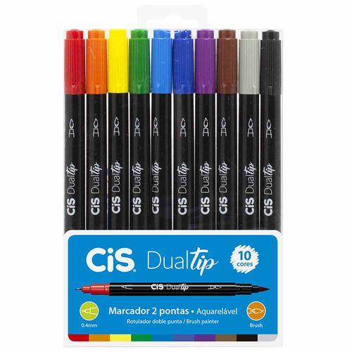 Marcador-Artistico-Dualtip-Aquarelavel-Cis-10-Cores