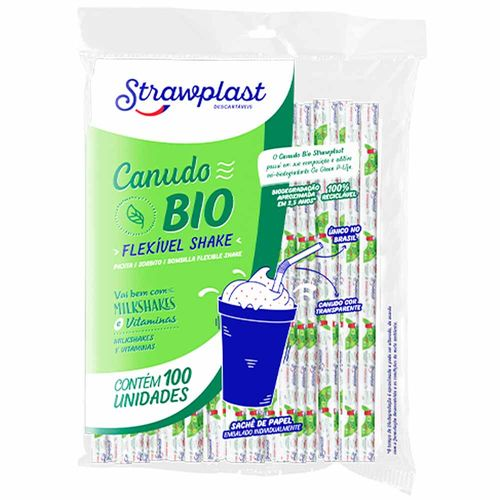 Canudo-Biodegradavel-Flexivel-Shake-Sache-Strawplast-100-Unidades