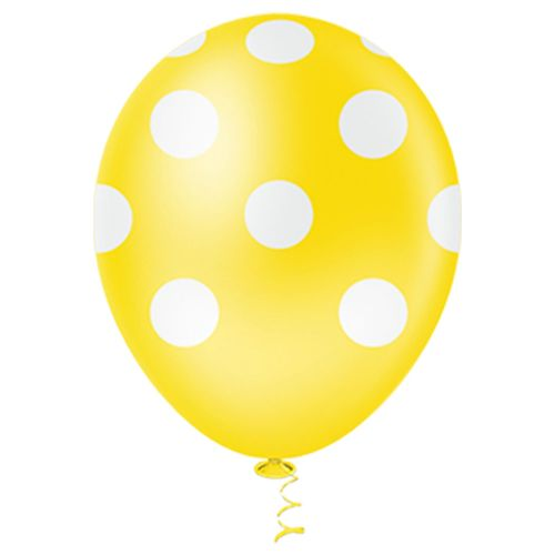 Bexiga-Fantasia-Bolinha-10-Amarelo-com-Branco-Pic-Pic-25-Unidades