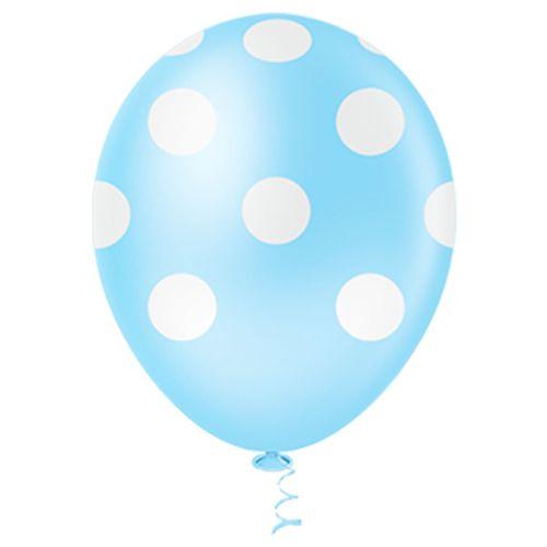 Bexiga-Fantasia-Bolinha-10-Azul-Claro-com-Branco-Pic-Pic-25-Unidades