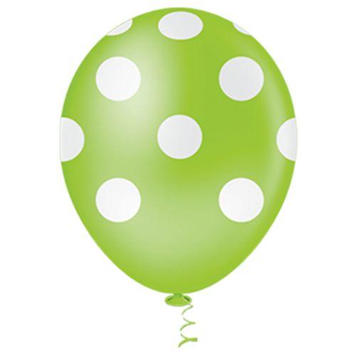 Bexiga-Fantasia-Bolinha-10-Verde-Limao-com-Branco-Pic-Pic-25-Unidades