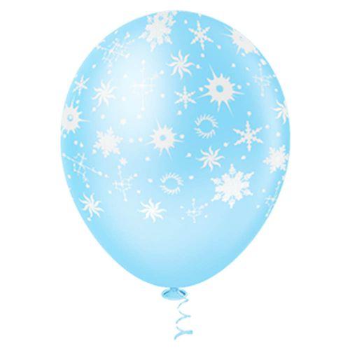Bexiga-Fantasia-Flocos-de-Neve-10-Azul-com-Branco-Pic-Pic-25-Unidades