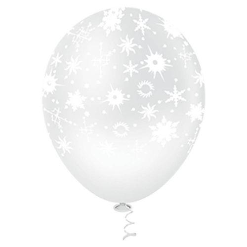 Bexiga-Fantasia-Flocos-de-Neve-10-Clear-com-Branco-Pic-Pic-25-Unidades