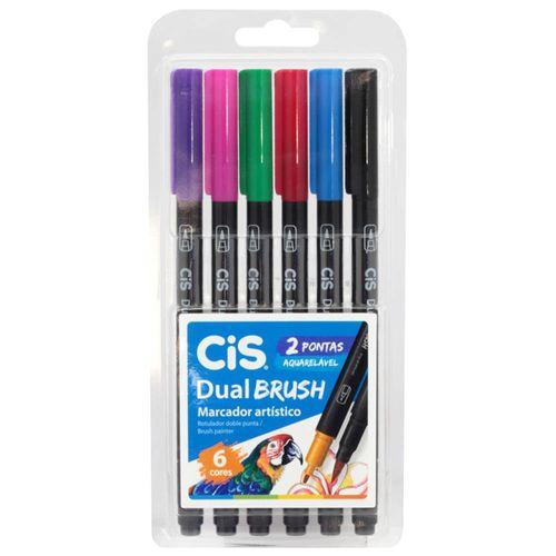 Marcador-Artistico-6-Cores-Dual-Brush-Aquarelavel-Cis