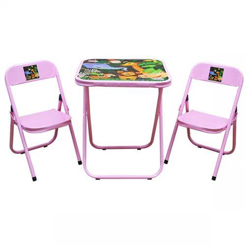 Conjunto-de-Mesa-Infantil-Rosa-com-2-Cadeiras-Utilaco