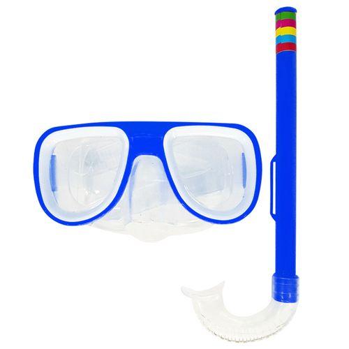 Kit-Mascara-de-Mergulho-e-Snorkel-Azul-Sun-Way
