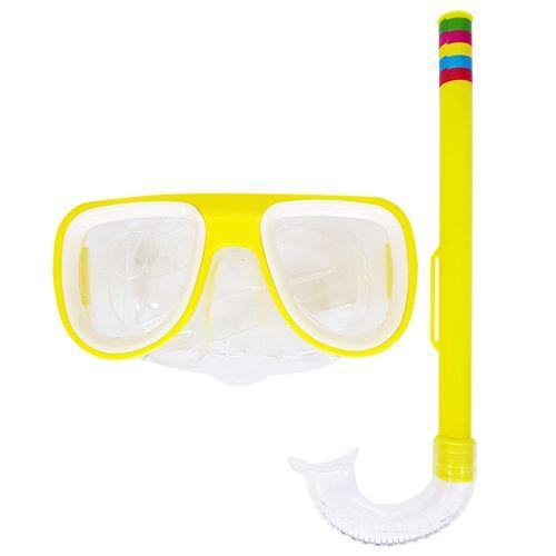 Kit-Mascara-de-Mergulho-e-Snorkel-Amarela-Sun-Way