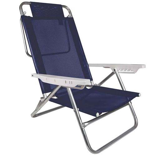 Cadeira-de-Praia-Aluminio-Reclinavel-Summer-Azul-Royal-Mor
