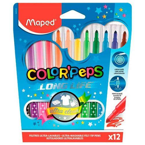 Canetinha-Hidrografica-12-Cores-Color-Peps-Long-Life-Maped